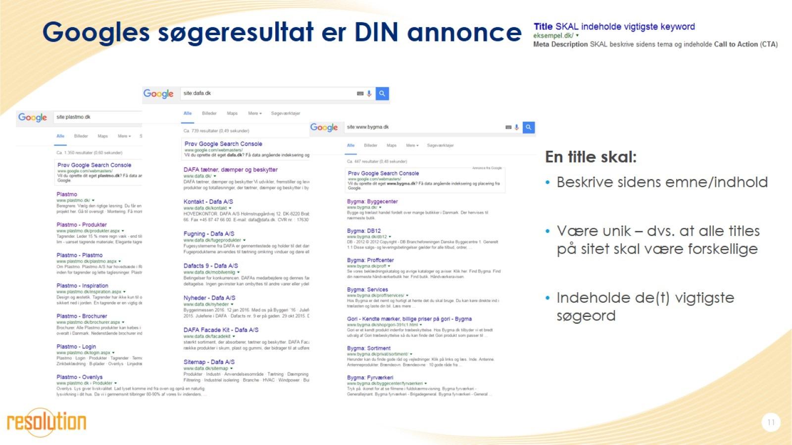 Googles søgeresultat er DIN annonce