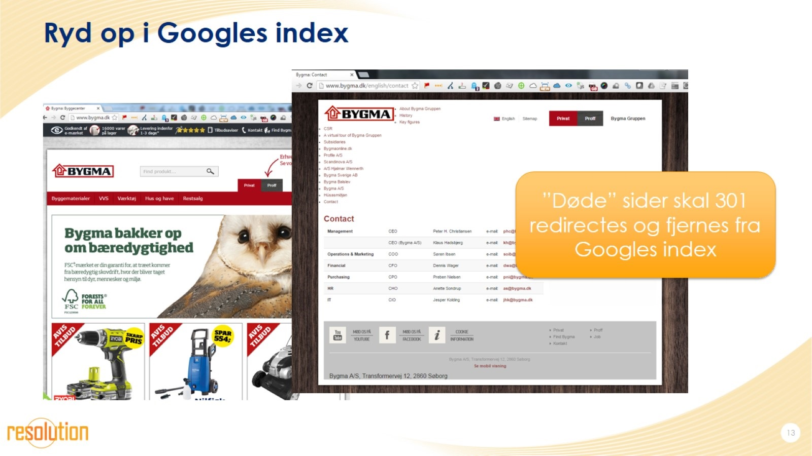 Ryd op i Googles index