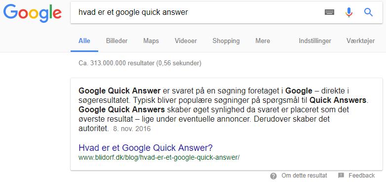 Hvad er et Google Quick Answer?