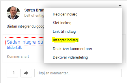 Integrer Google+ post