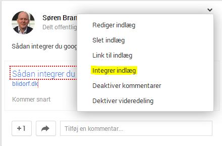 Integrer Google+ post
